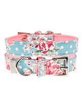 Vintage Rose Floral Fabric Collar - Our Vintage Rose Floral pattern collar will brighten up even the dullest of days. It is a contemporary style and the floral pattern is right on trend. It is lightweight and incredibly strong. The collar has been finished with chrome detailing including the eyelets and tip of the collar. A matching l...