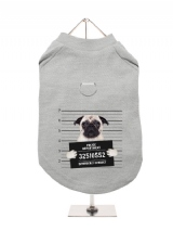 ''Police Mugshot - Pug'' Harness-Lined Dog T-Shirt